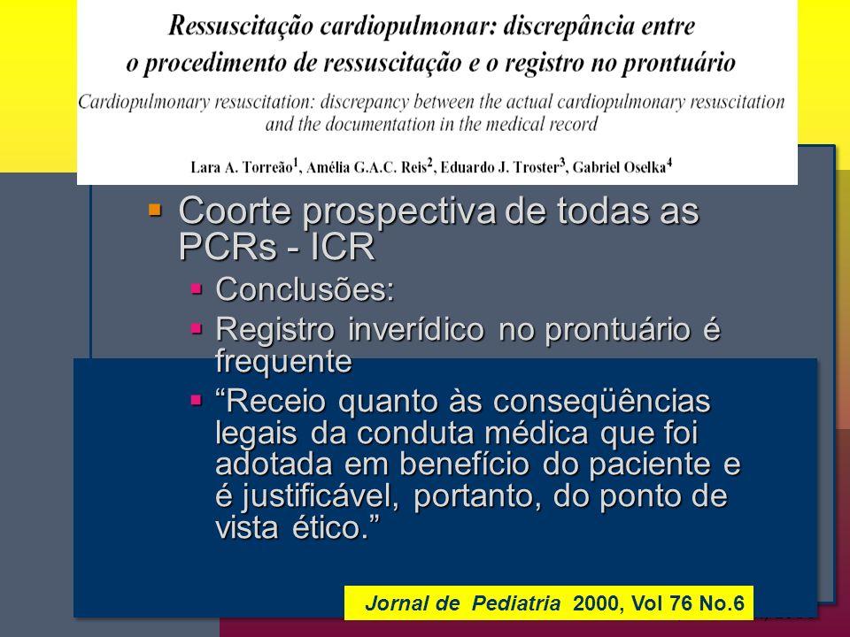 Coorte prospectiva de todas as PCRs - ICR