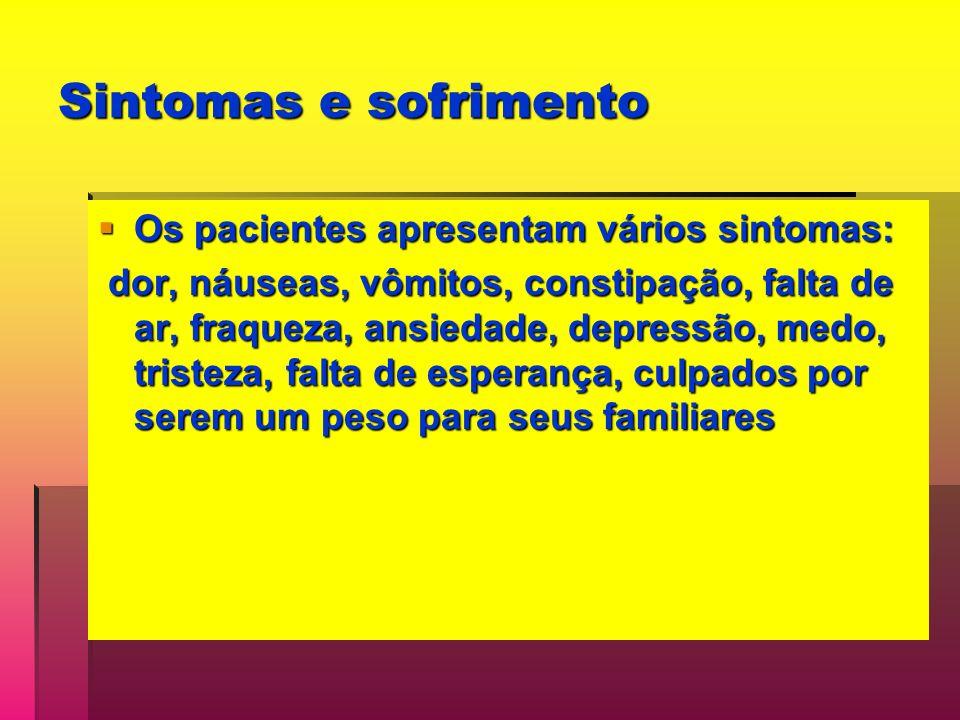 Sintomas e sofrimento Os pacientes apresentam vários sintomas: