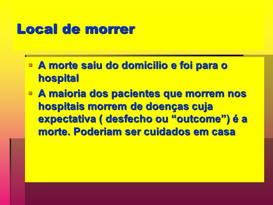 Local de morrer A morte saiu do domicilio e foi para o hospital