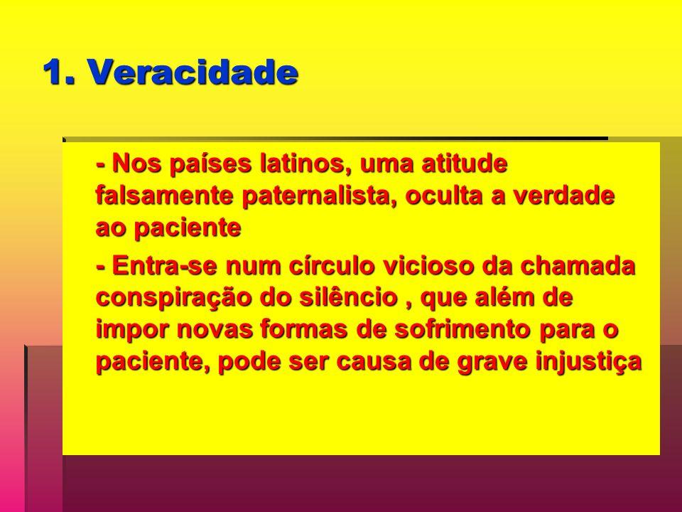 1. Veracidade - Nos países latinos, uma atitude falsamente paternalista, oculta a verdade ao paciente.