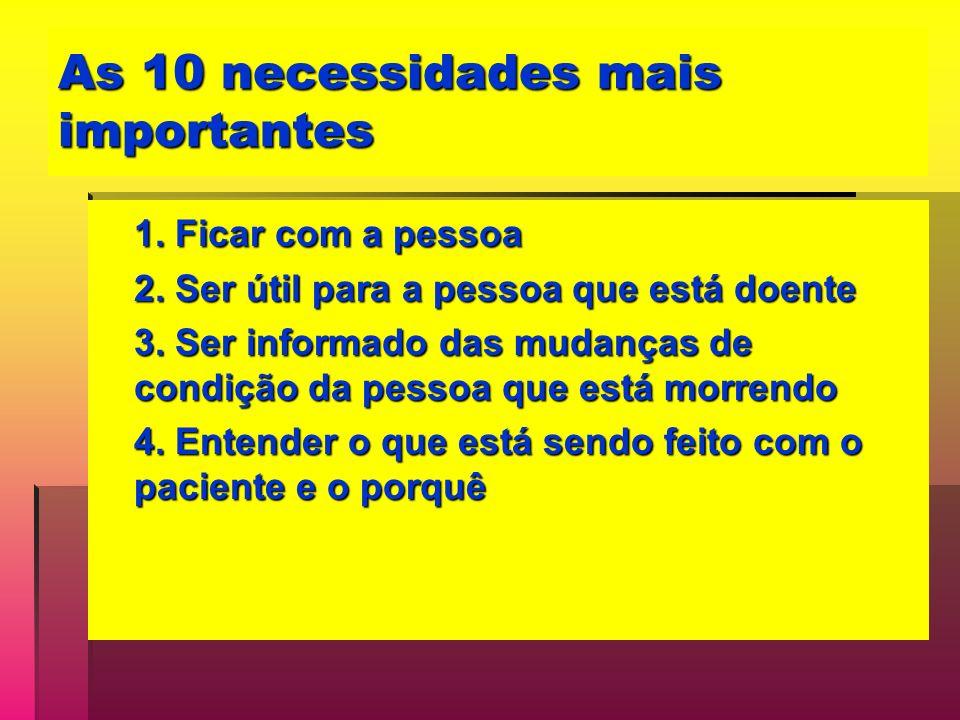 As 10 necessidades mais importantes