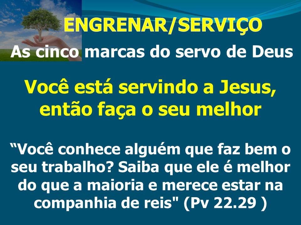 ENGRENAR/SERVIÇO Você está servindo a Jesus, então faça o seu melhor