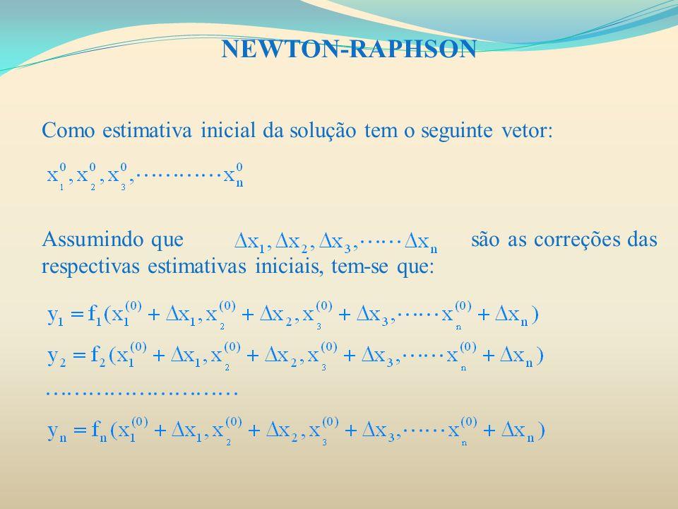 NEWTON-RAPHSONComo estimativa inicial da solução tem o seguinte vetor: