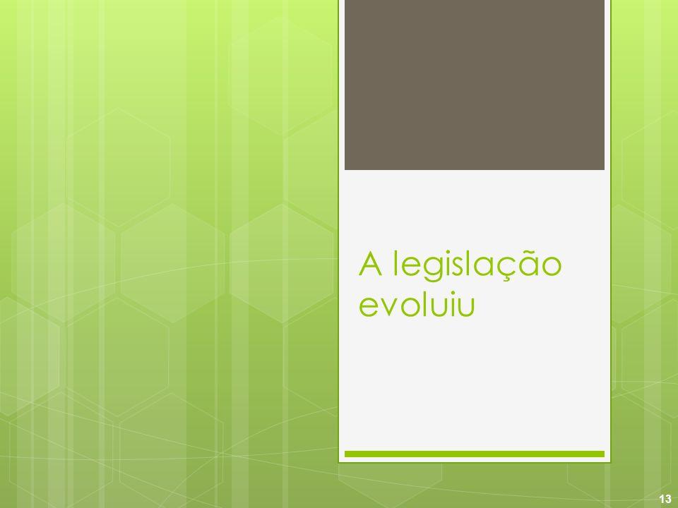 A legislação evoluiu 13