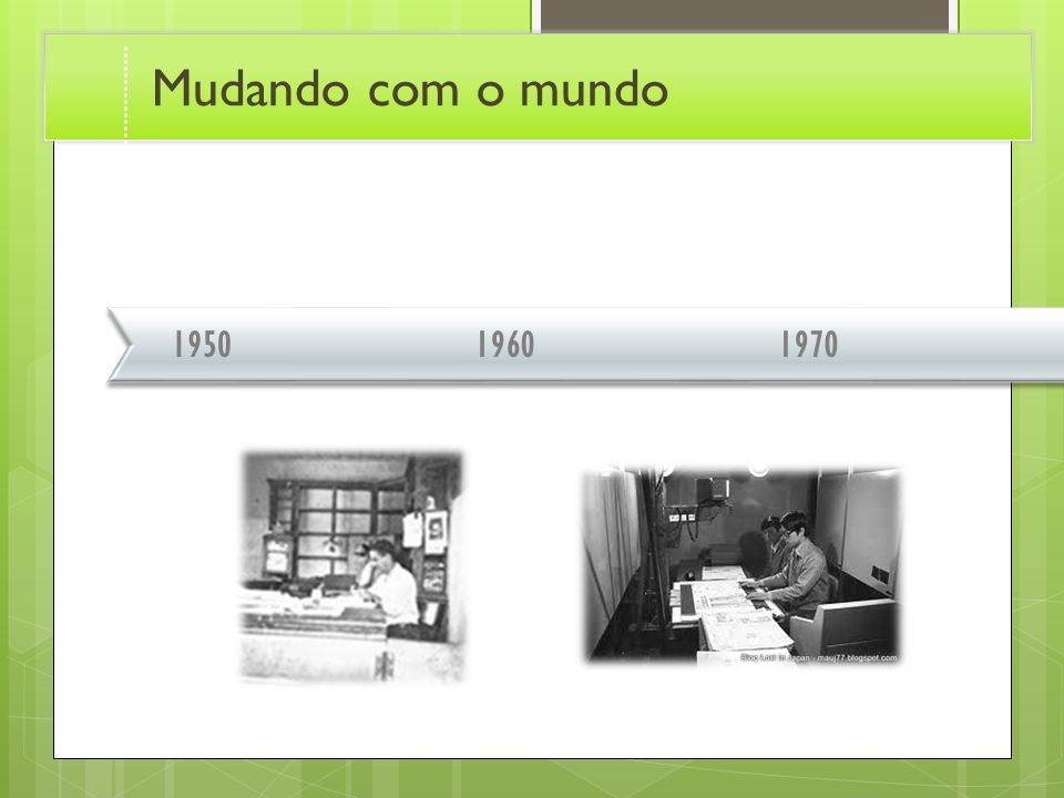 Mudando com o mundo 1950. 1960. 1970. Transition effect for timeline, slide 1. (Basic)