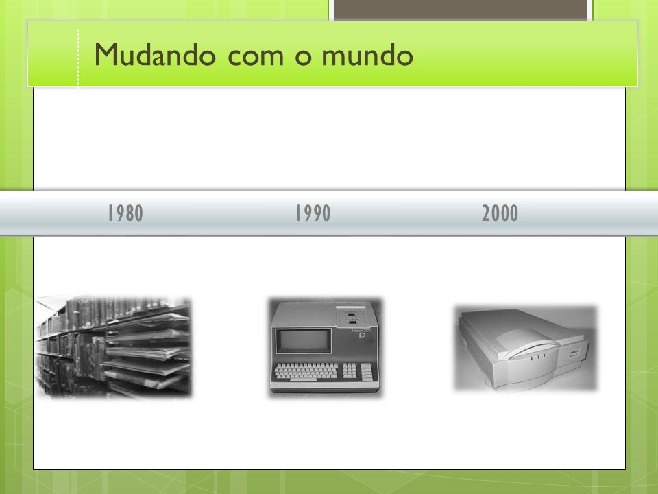Mudando com o mundo 1980. 1990. 2000. Transition effect for timeline, slide 2. (Basic)