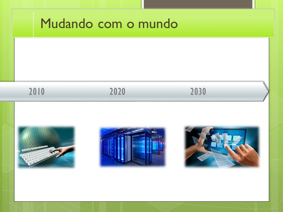 Mudando com o mundo 2010. 2020. 2030. Transition effect for timeline, slide 3. (Basic)