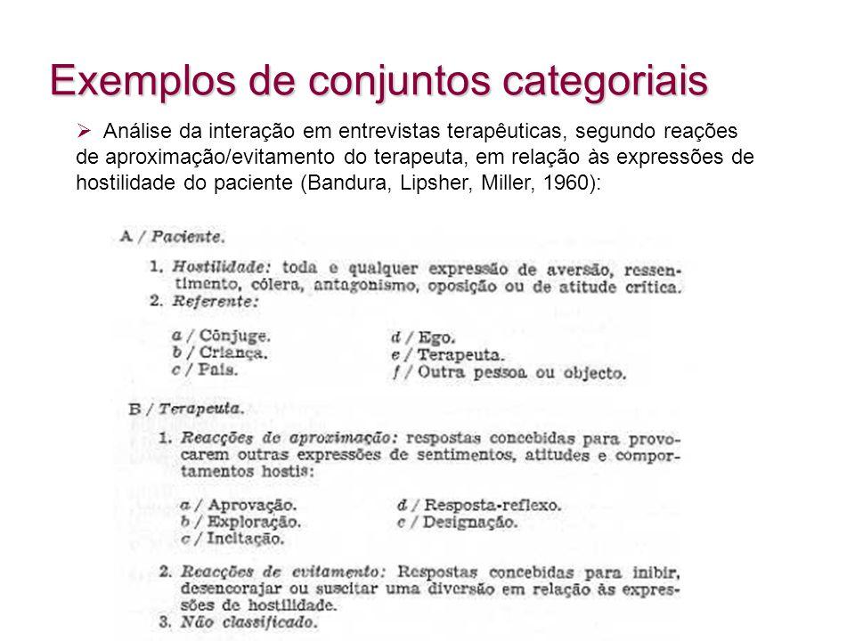 Exemplos de conjuntos categoriais