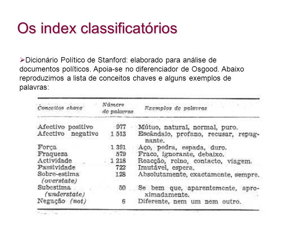 Os index classificatórios