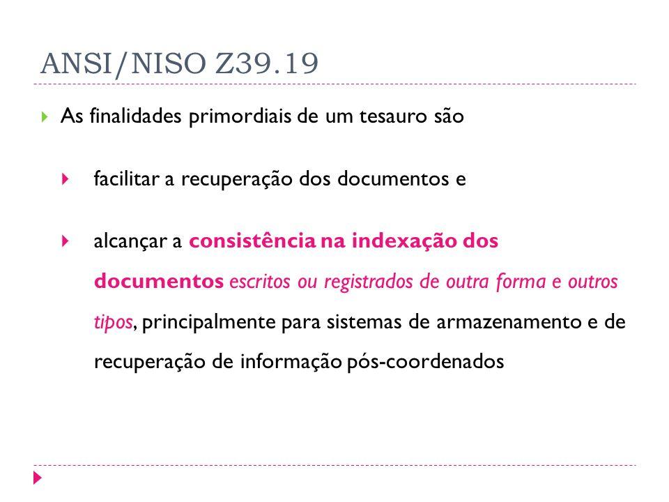 ANSI/NISO Z39.19 As finalidades primordiais de um tesauro são