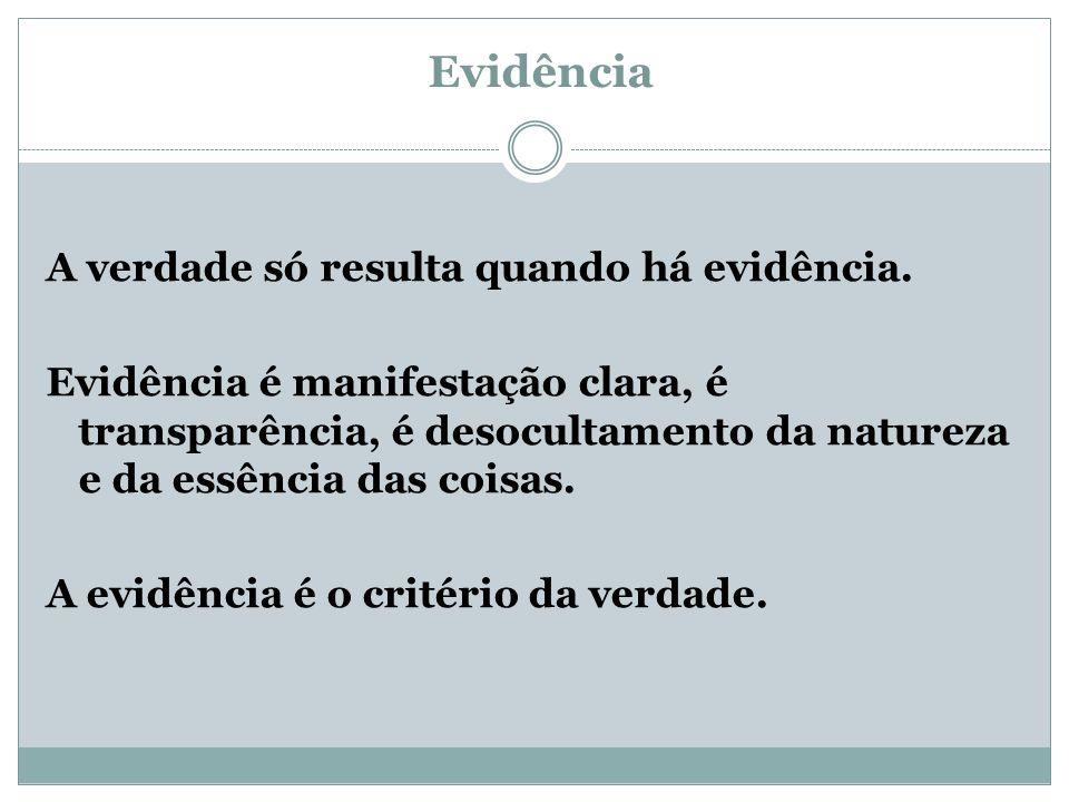 Evidência A verdade só resulta quando há evidência.