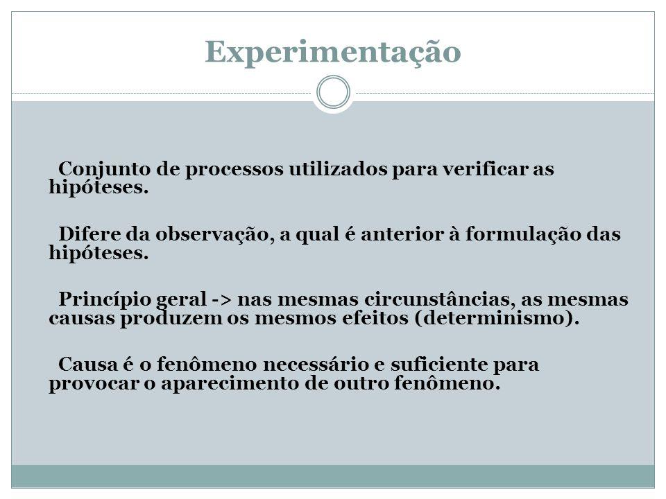 Experimentação Conjunto de processos utilizados para verificar as hipóteses. Difere da observação, a qual é anterior à formulação das hipóteses.