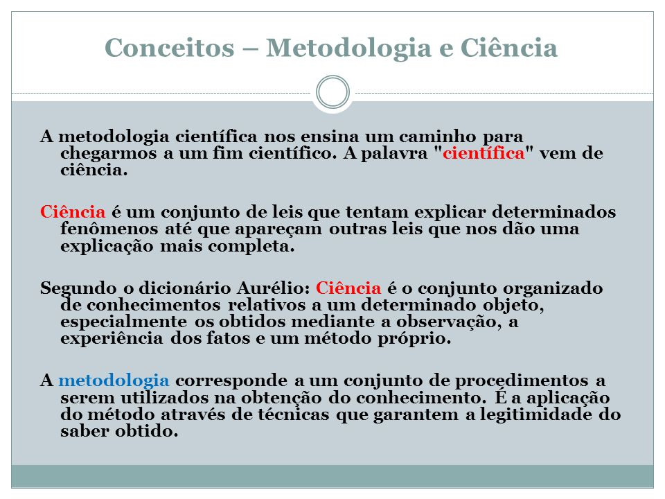 Conceitos – Metodologia e Ciência