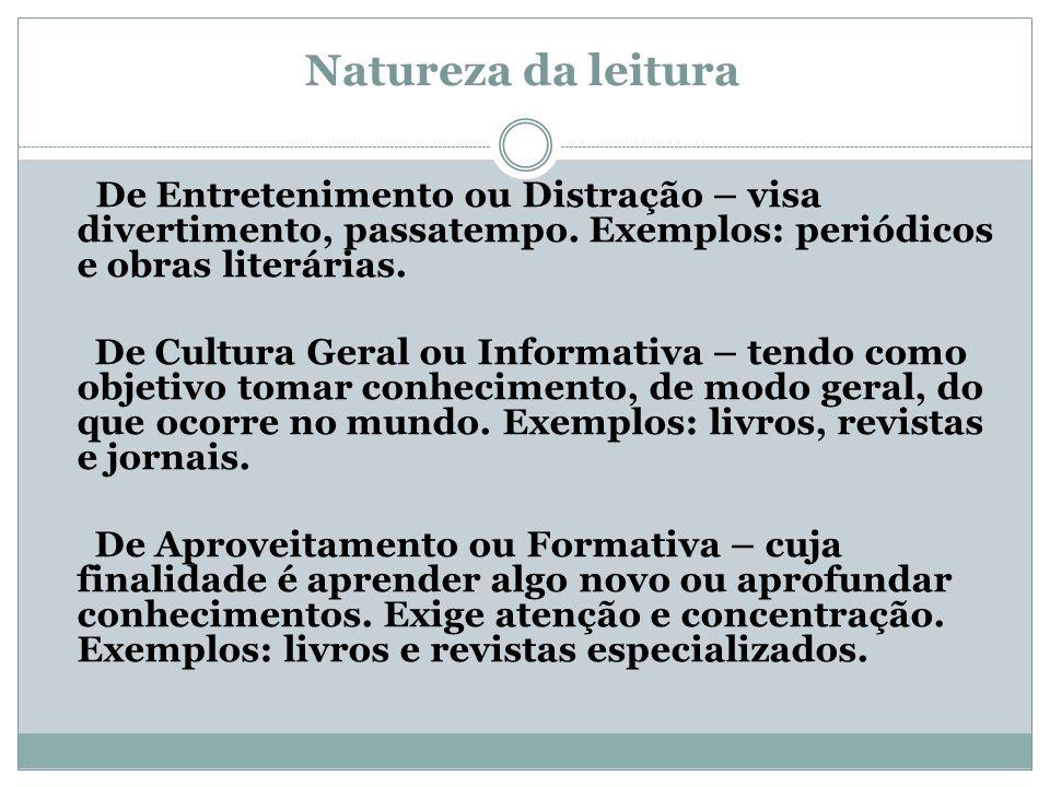 Natureza da leitura De Entretenimento ou Distração – visa divertimento, passatempo. Exemplos: periódicos e obras literárias.
