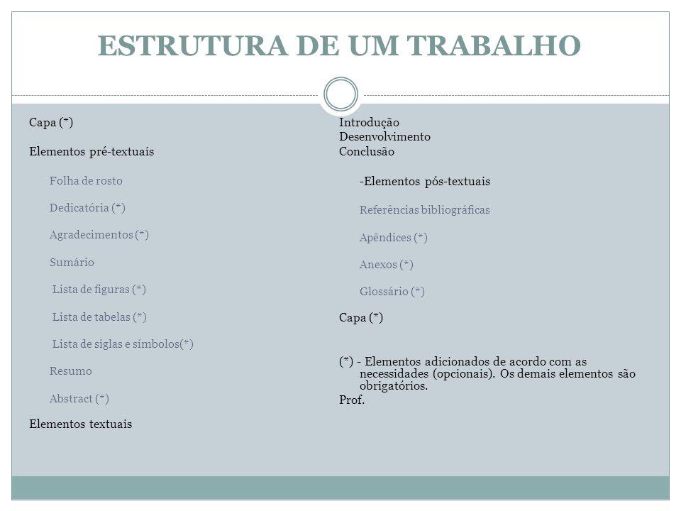 ESTRUTURA DE UM TRABALHO