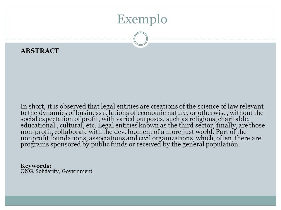 Exemplo ABSTRACT.