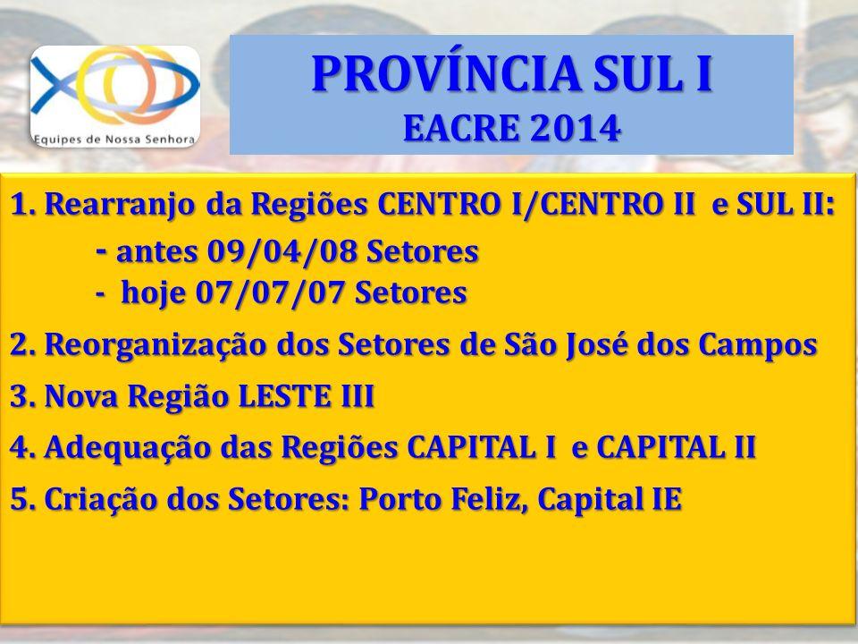 PROVÍNCIA SUL I EACRE 2014 - antes 09/04/08 Setores