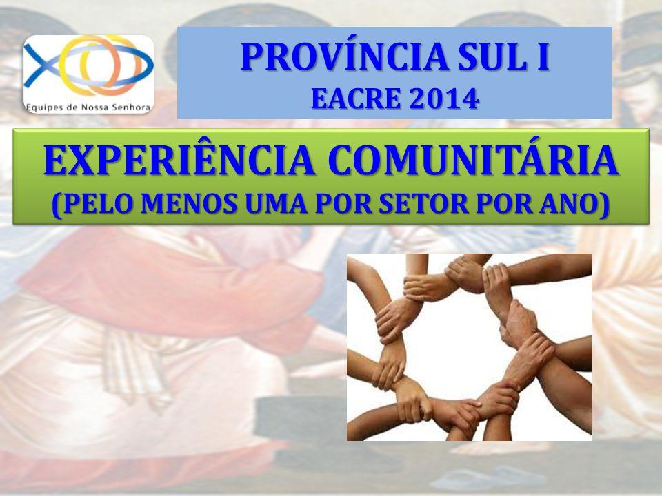 EXPERIÊNCIA COMUNITÁRIA (PELO MENOS UMA POR SETOR POR ANO)