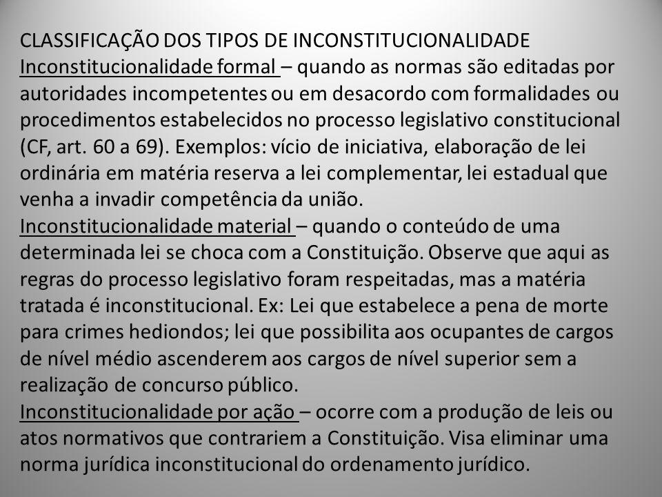 CLASSIFICAÇÃO DOS TIPOS DE INCONSTITUCIONALIDADE Inconstitucionalidade formal – quando as normas são editadas por autoridades incompetentes ou em desacordo com formalidades ou procedimentos estabelecidos no processo legislativo constitucional (CF, art.