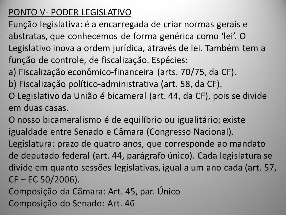 PONTO V- PODER LEGISLATIVO Função legislativa: é a encarregada de criar normas gerais e abstratas, que conhecemos de forma genérica como 'lei'.