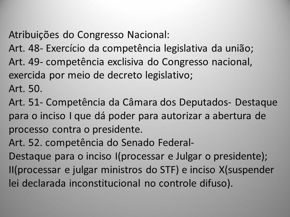 Atribuições do Congresso Nacional: Art