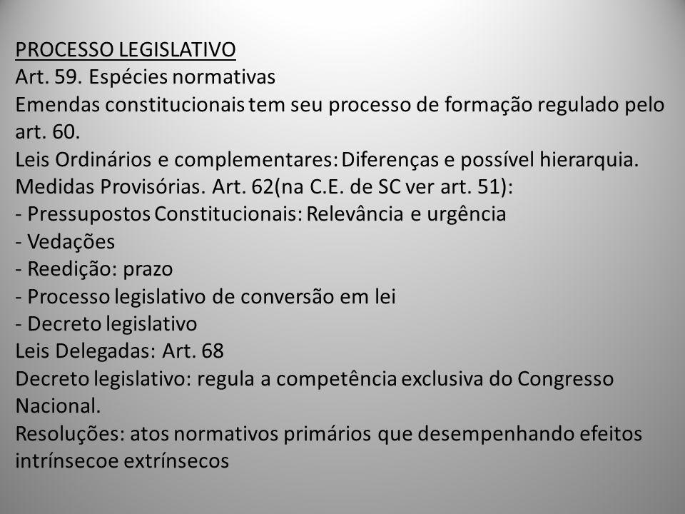 PROCESSO LEGISLATIVO Art. 59