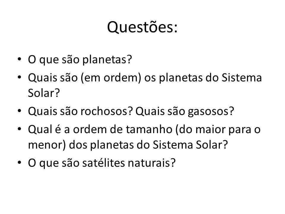 Questões: O que são planetas