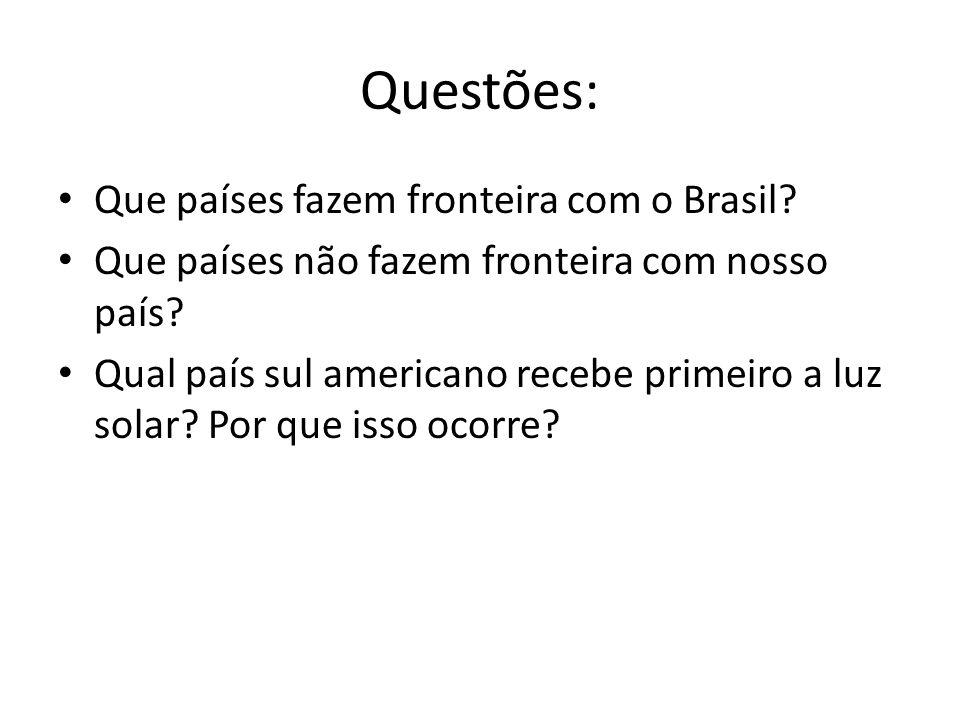 Questões: Que países fazem fronteira com o Brasil