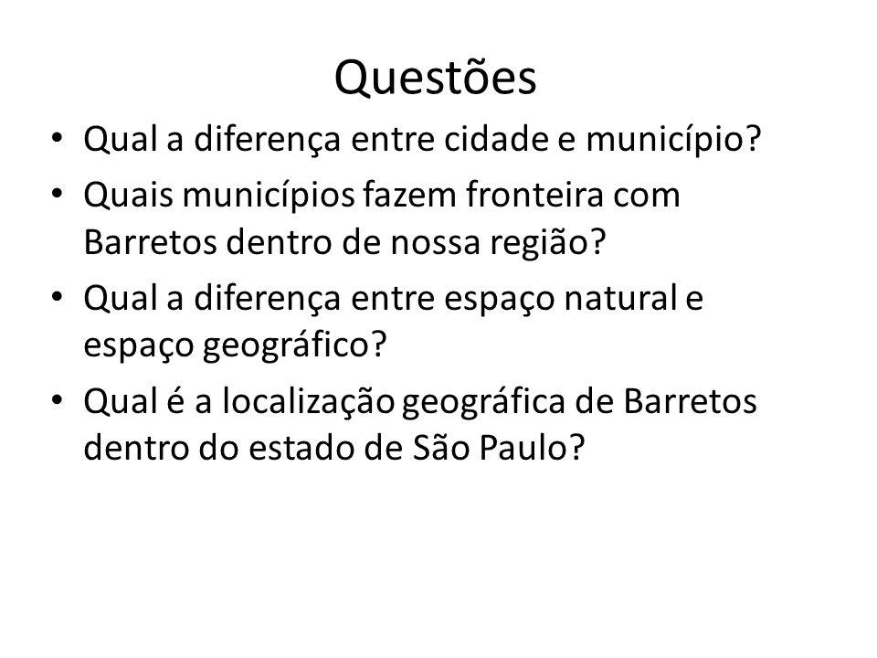 Questões Qual a diferença entre cidade e município