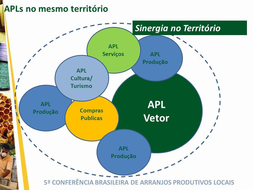 APL Vetor APLs no mesmo território Sinergia no Territórioio APL