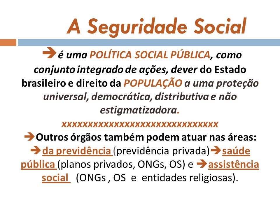 é uma POLÍTICA SOCIAL PÚBLICA, como conjunto integrado de ações, dever do Estado brasileiro e direito da POPULAÇÃO a uma proteção universal, democrática, distributiva e não estigmatizadora. xxxxxxxxxxxxxxxxxxxxxxxxxxxxxx Outros órgãos também podem atuar nas áreas: da previdência (previdência privada)saúde pública (planos privados, ONGs, OS) e assistência social (ONGs , OS e entidades religiosas).