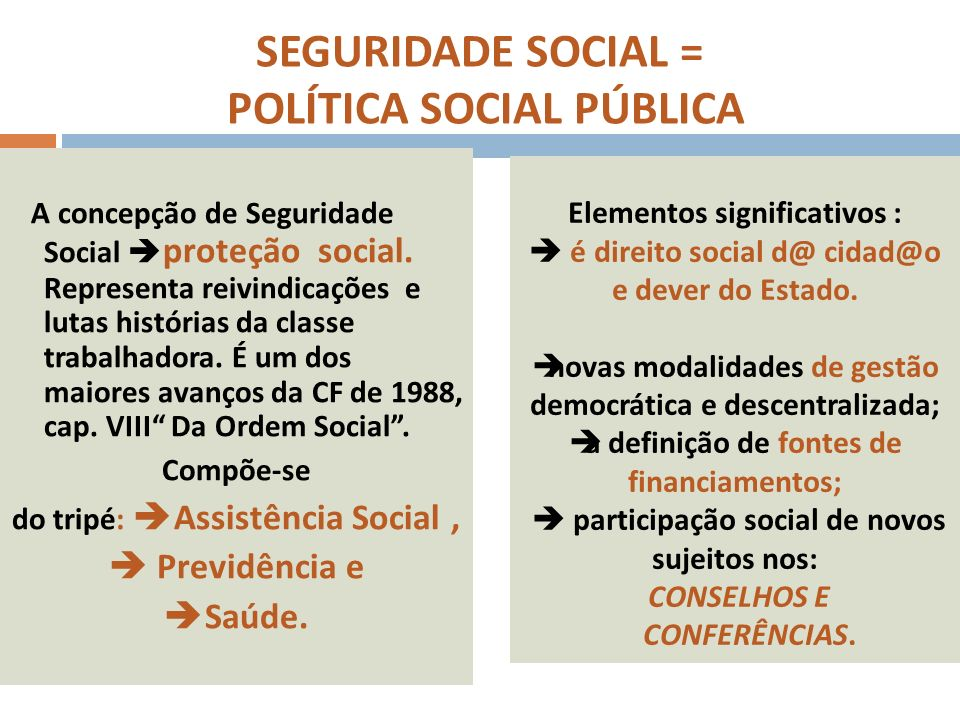 SEGURIDADE SOCIAL = POLÍTICA SOCIAL PÚBLICA