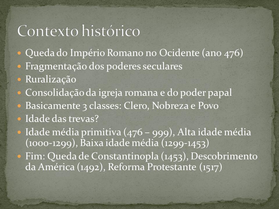 Contexto histórico Queda do Império Romano no Ocidente (ano 476)