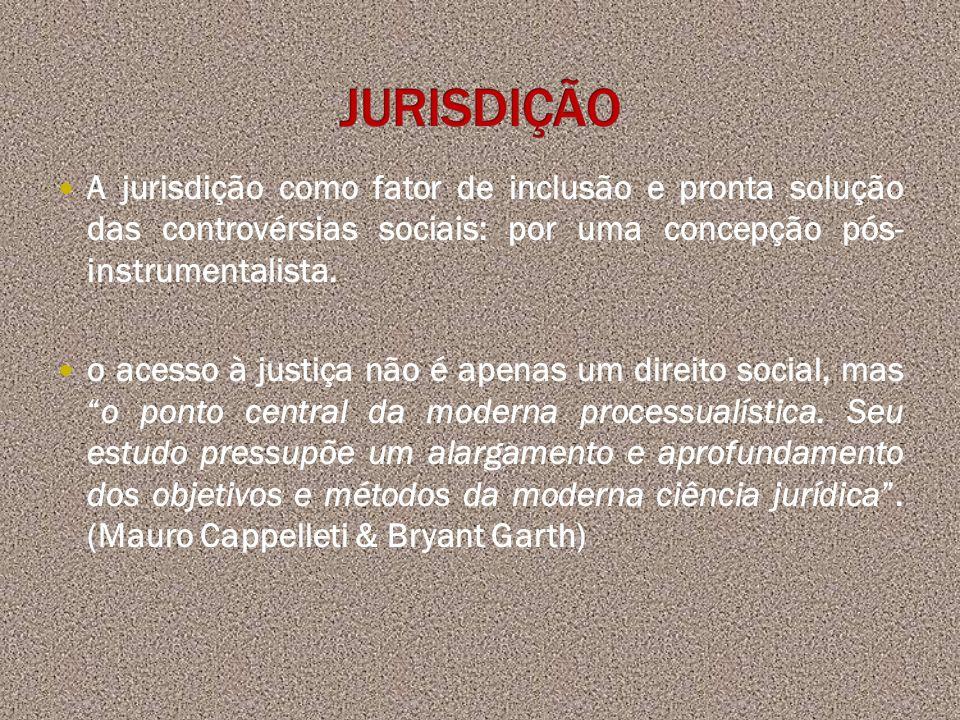 JURISDIÇÃO A jurisdição como fator de inclusão e pronta solução das controvérsias sociais: por uma concepção pós- instrumentalista.