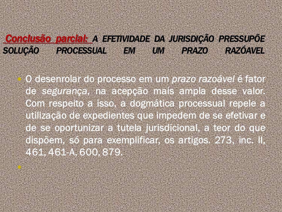 Conclusão parcial: A EFETIVIDADE DA JURISDIÇÃO PRESSUPÕE SOLUÇÃO PROCESSUAL EM UM PRAZO RAZÓAVEL