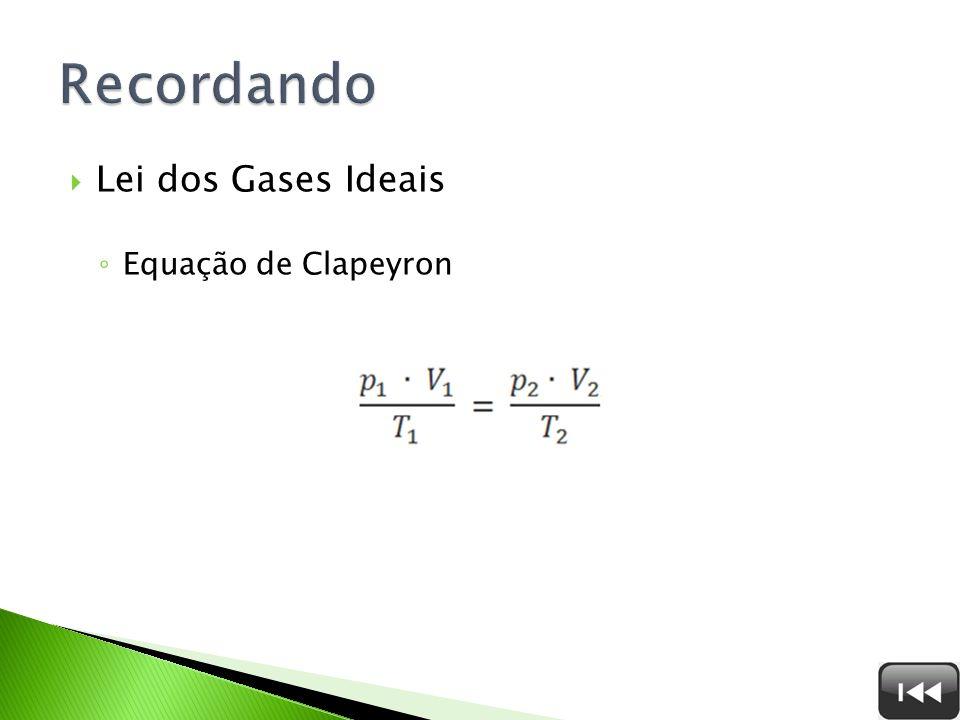 Recordando Lei dos Gases Ideais Equação de Clapeyron