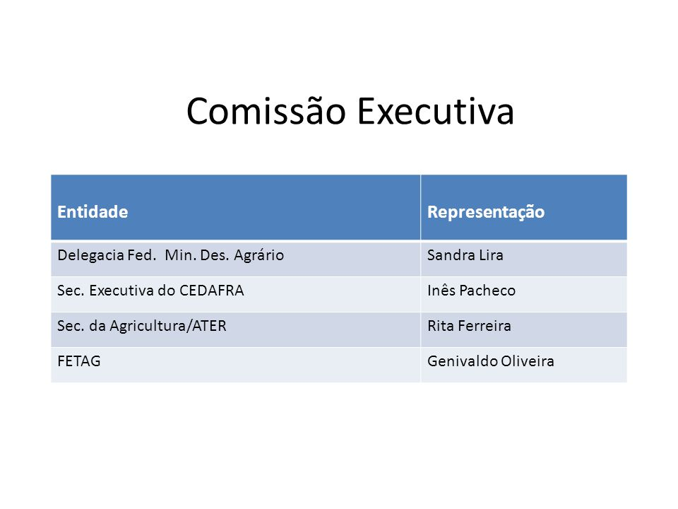 Comissão Executiva Entidade Representação