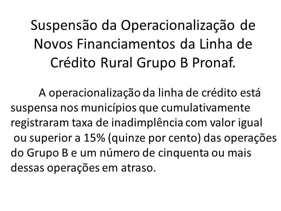 Suspensão da Operacionalização de Novos Financiamentos da Linha de Crédito Rural Grupo B Pronaf.