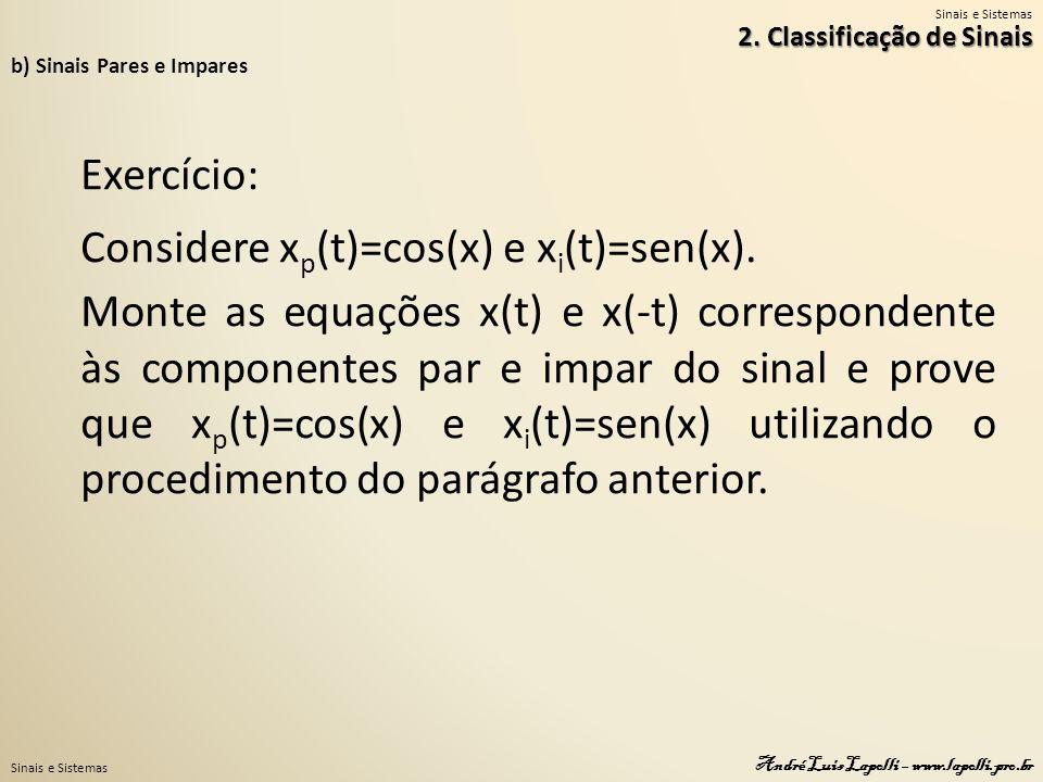 Considere xp(t)=cos(x) e xi(t)=sen(x).