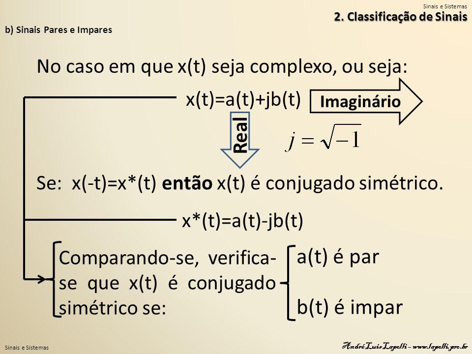 a(t) é par b(t) é impar No caso em que x(t) seja complexo, ou seja: