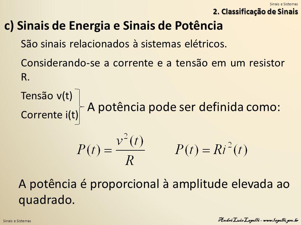 c) Sinais de Energia e Sinais de Potência