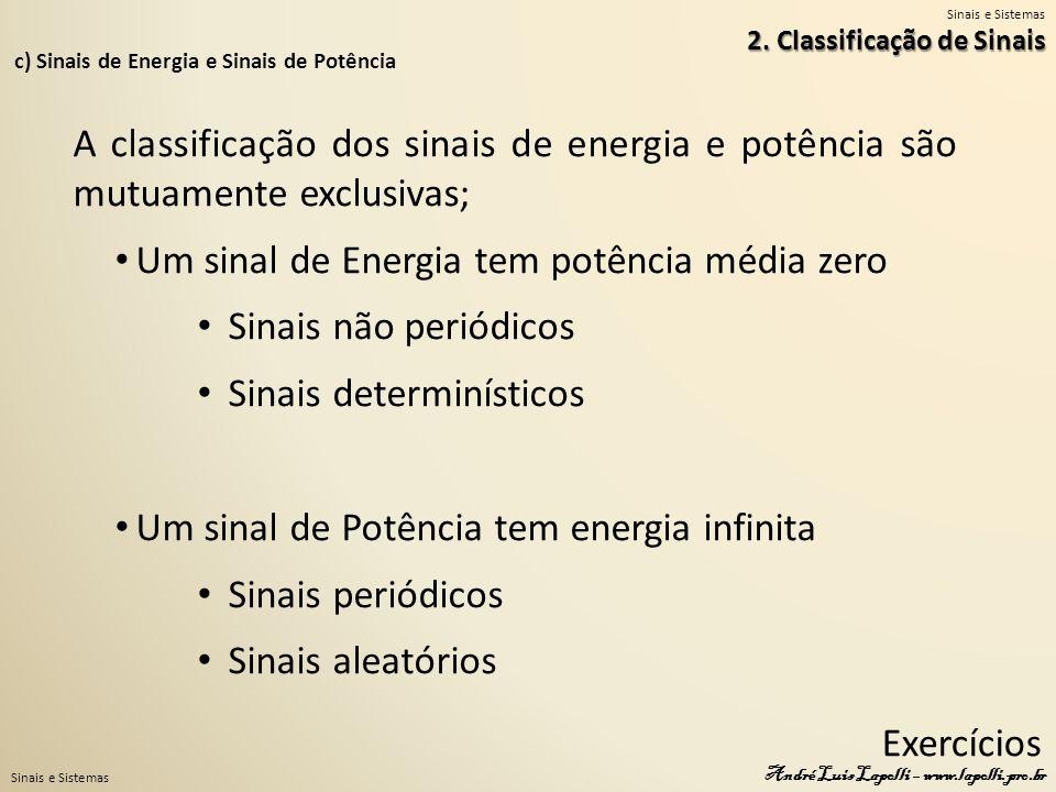 Um sinal de Energia tem potência média zero Sinais não periódicos