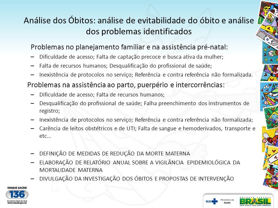 Análise dos Óbitos: análise de evitabilidade do óbito e análise dos problemas identificados