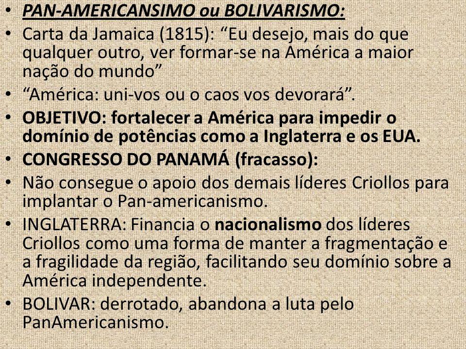 PAN-AMERICANSIMO ou BOLIVARISMO: