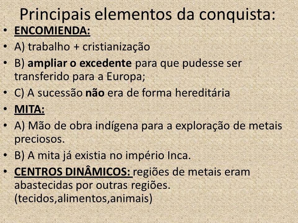 Principais elementos da conquista: