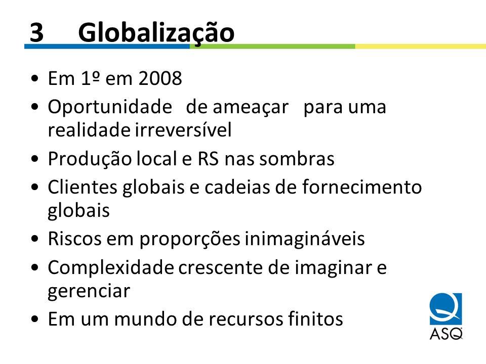 3 Globalização Em 1º em 2008. Oportunidade de ameaçar para uma realidade irreversível. Produção local e RS nas sombras.