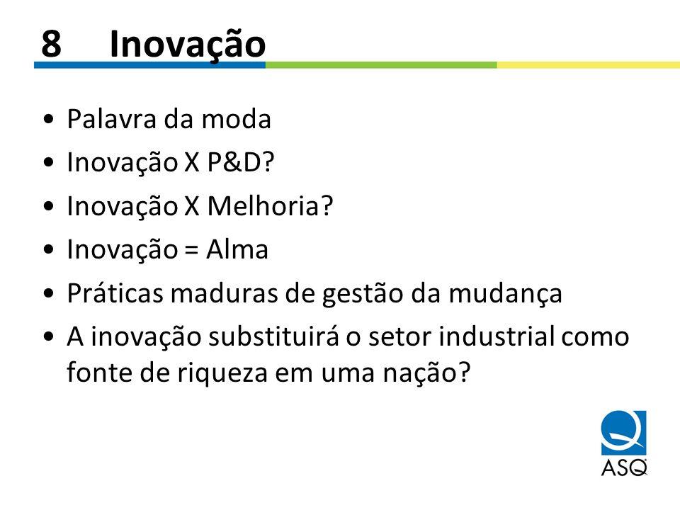 8 Inovação Palavra da moda Inovação X P&D Inovação X Melhoria
