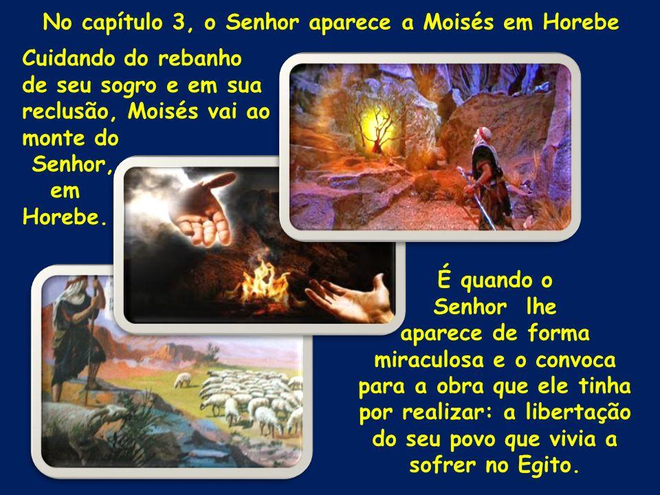 No capítulo 3, o Senhor aparece a Moisés em Horebe