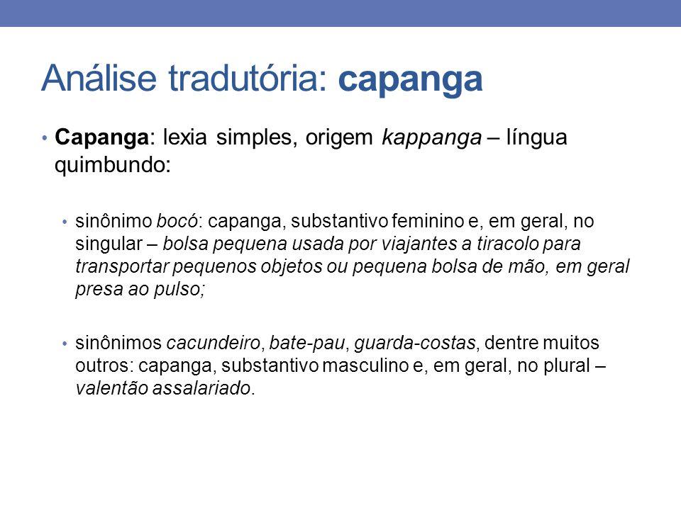 Análise tradutória: capanga