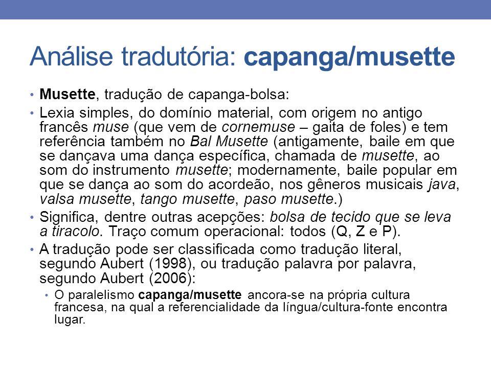Análise tradutória: capanga/musette